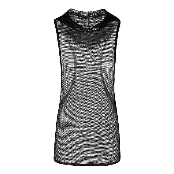 YiZYiF Camiseta de Tirantes Ropa erótica Hombre Sexy Ropa Interior de Malla Transparente Negro Negro M