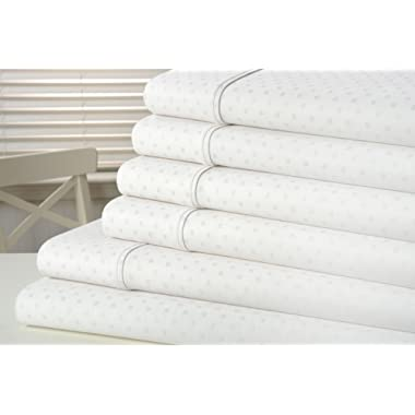 kathy ireland Home 1200 Thread Count Swiss Dot Egyptian Quality Cotton Rich 6 Piece Sheet Set with Bonus Pillowcases - 6 Colors (Queen, White)