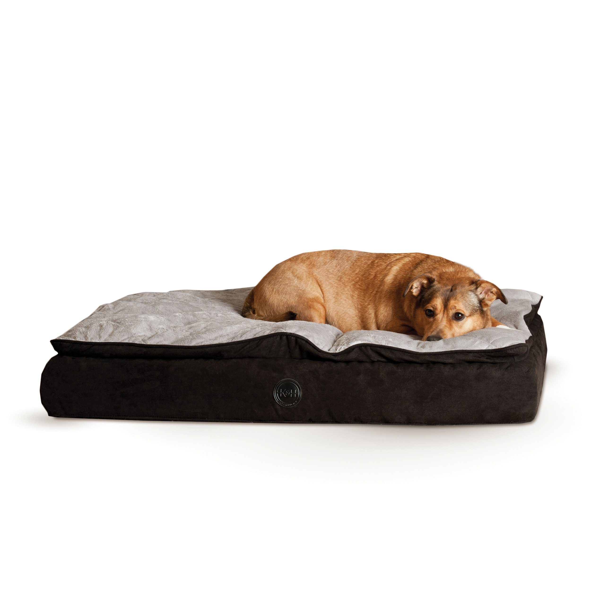 K&H Pet Products Feather-Top Ortho Pet Bed Medium Charcoal/Gray 30'' x 40''