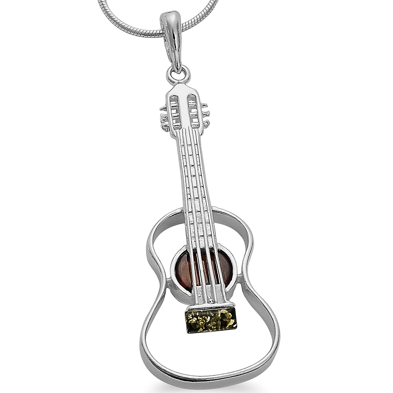 Musikinstrument Bernstein Gitarren XL Anhä nger 925 Silber Schmuck Gitarre Kettenanhä nger #1645 -Bernsteinanhänger-Handgefertigt 001501201645
