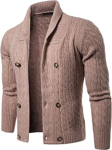 LEOCLOTHO Cárdigan Chaqueta de Punto para Hombre Elegante Cardigan Suéter Cuello Chal Básico con Botones: Amazon.es: Ropa y accesorios
