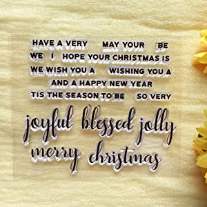 GAOZONGTER Words Joyful Blessed Jolly Merry Christmas Clear Stamps for Card Making DIY Scrapbooking Silicone Stamps Transparent Stamps Album Photo Decor