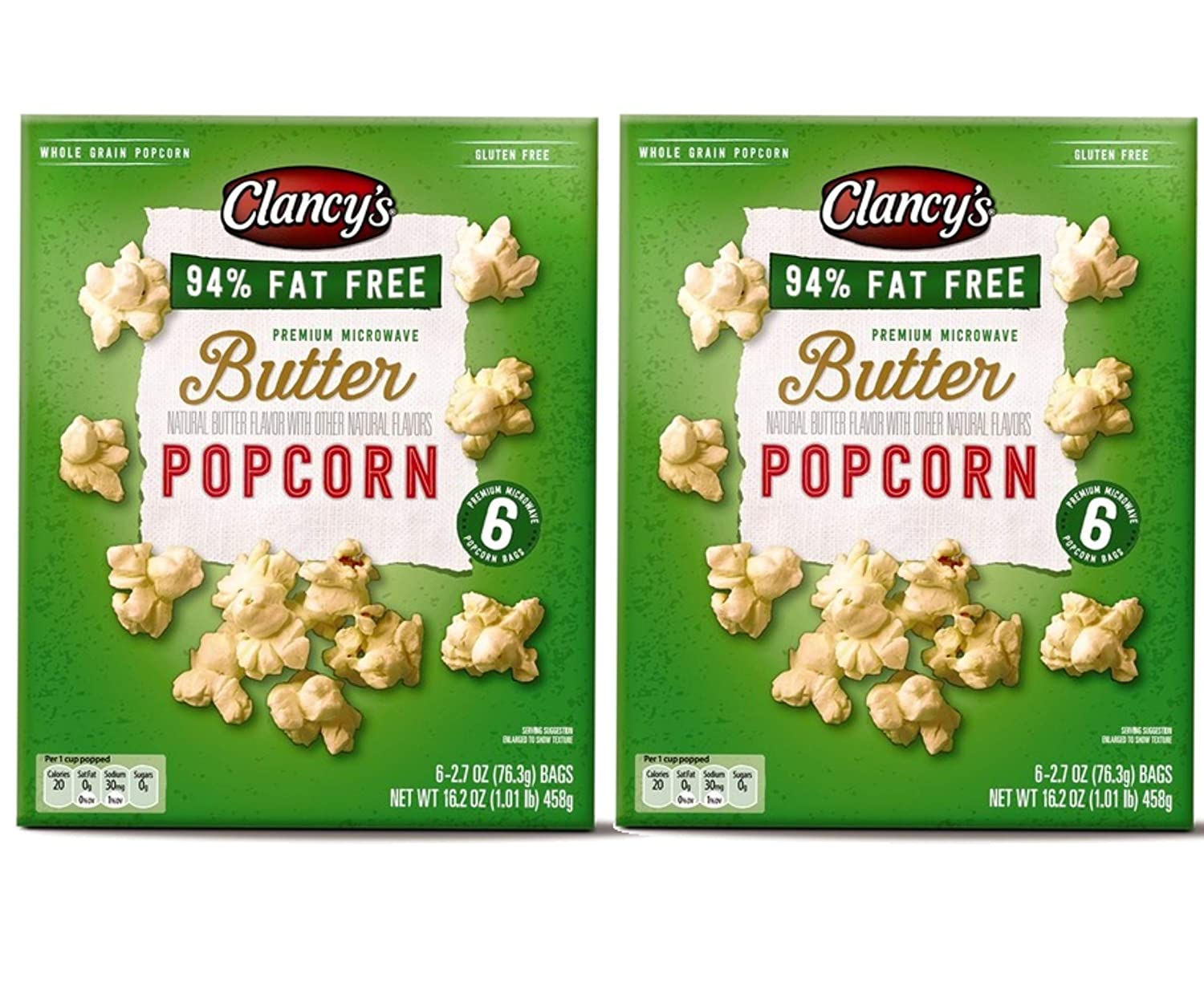 Clancy's Gluten-Free Fat-Free Whole Grain Natural Butter Popcorn Premium Microwave Bags - 2 Pk (12 ct)
