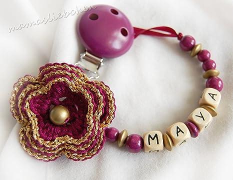 17501 Chupete Cadena Flor con nombre ganchillo flor oro de ...