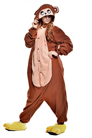 NEWCOSPLAY Adult Unisex Monkey Onesie Pajamas Costume (S, Brown Monkey)