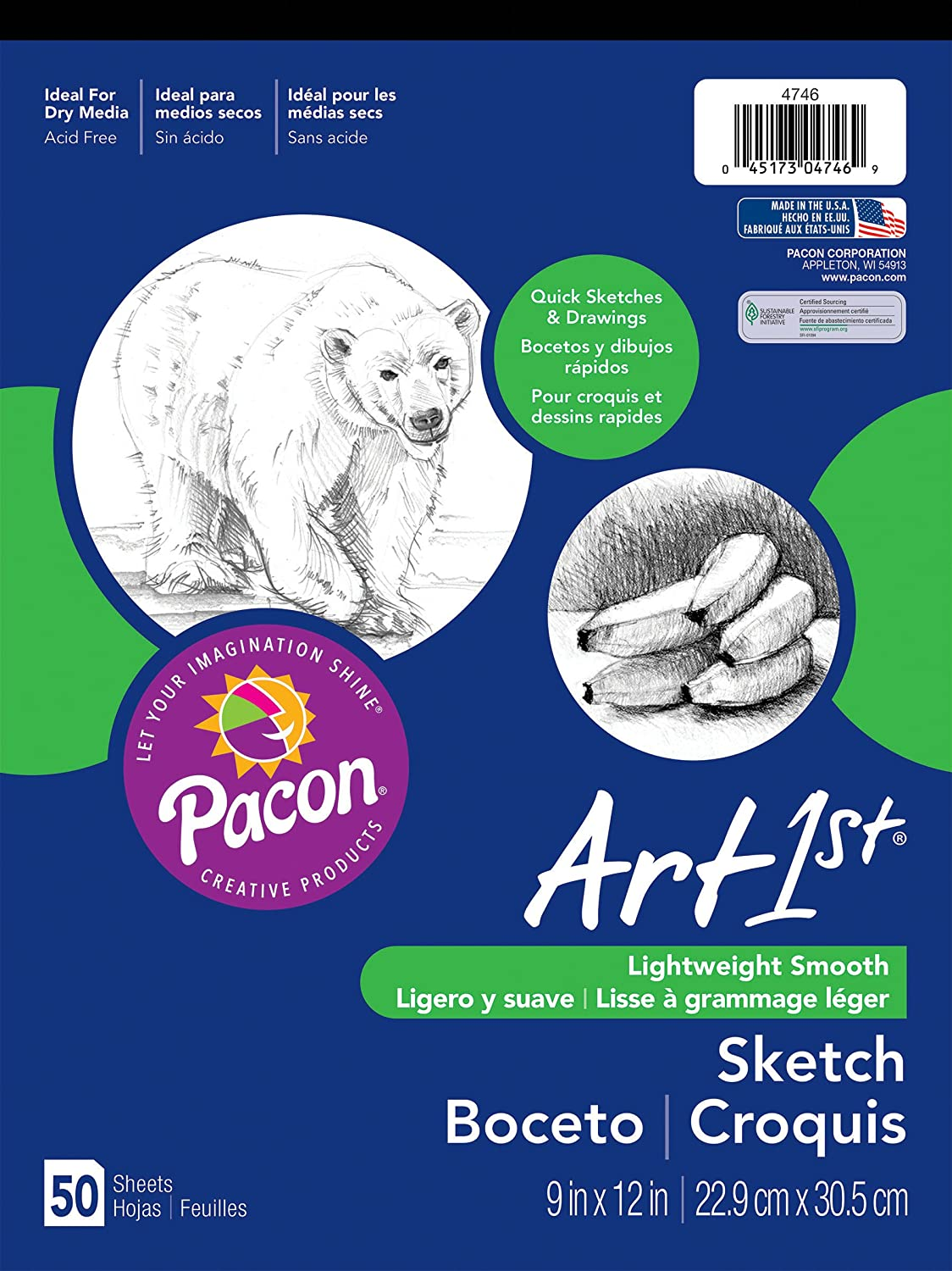 Pacon Art1St Sketch Pad, 9-Inchx12-Inch, White, 50-Sheet Pacon Corporation 4746