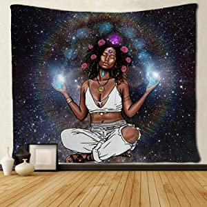 SARA NELL Wall Tapestry African American Women with Pink Roses in Galaxy Tapestries Hippie Art Wall Hanging Throw Tablecloth 60X80 Inches for Bedroom Living Room Dorm Room