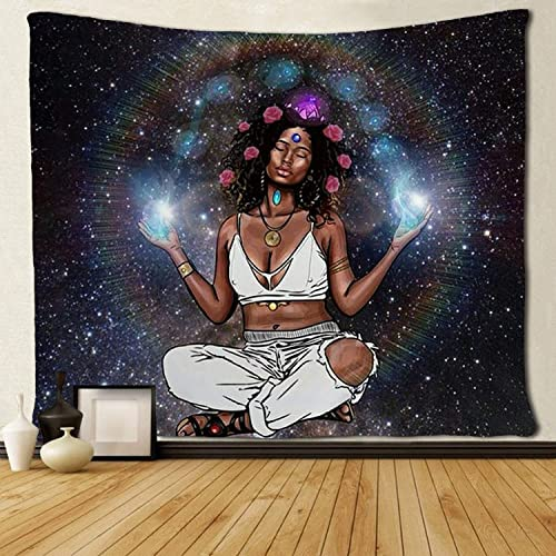 SARA NELL Wall Tapestry African American Women with Pink Roses in Galaxy Tapestries Hippie Art Wall Hanging Throw Tablecloth 60X90 Inches for Bedroom Living Room Dorm Room