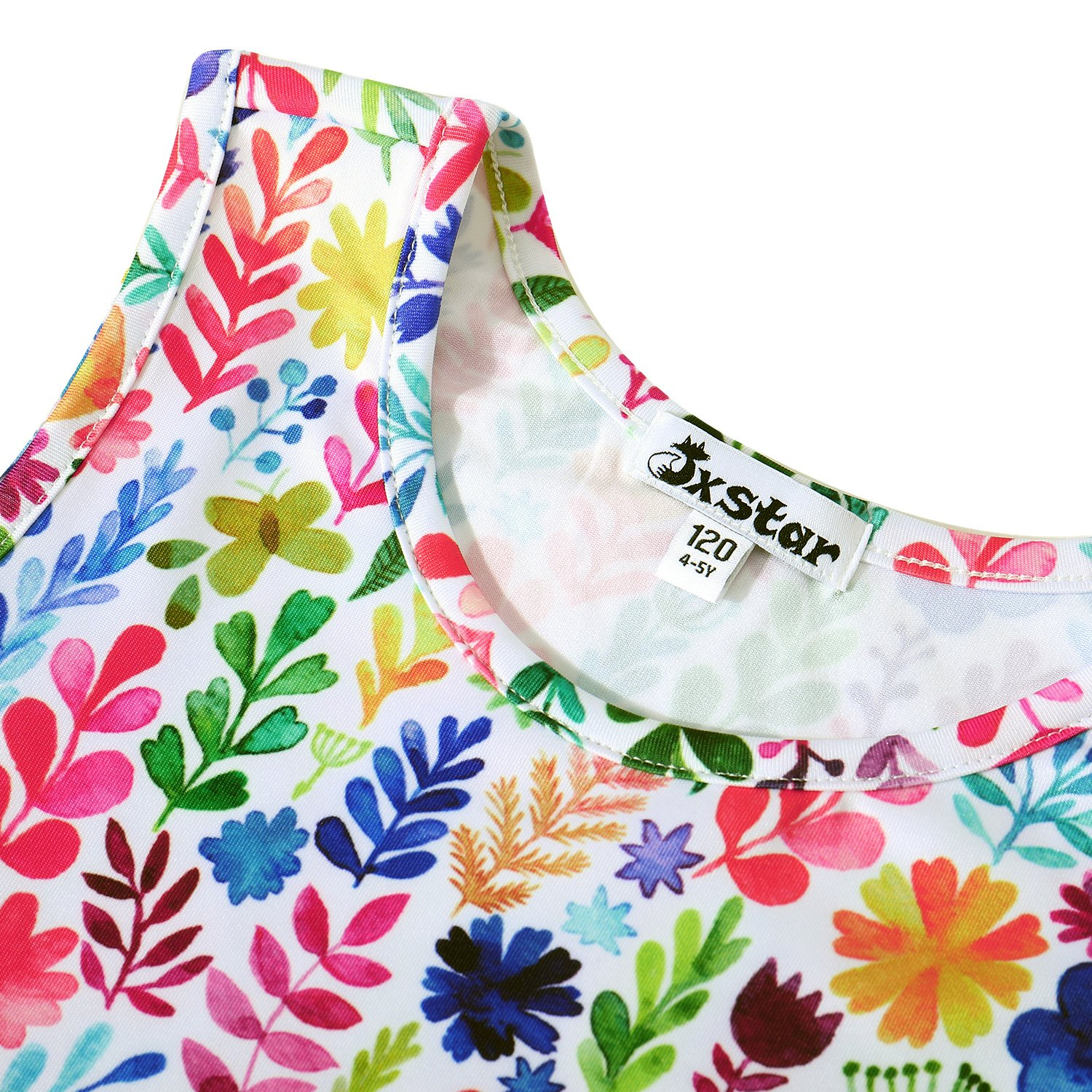 Jxstar Girl Casual Dress Flower Summer Floral Printed Sleeveless Holiday Little by Jxstar (Image #3)