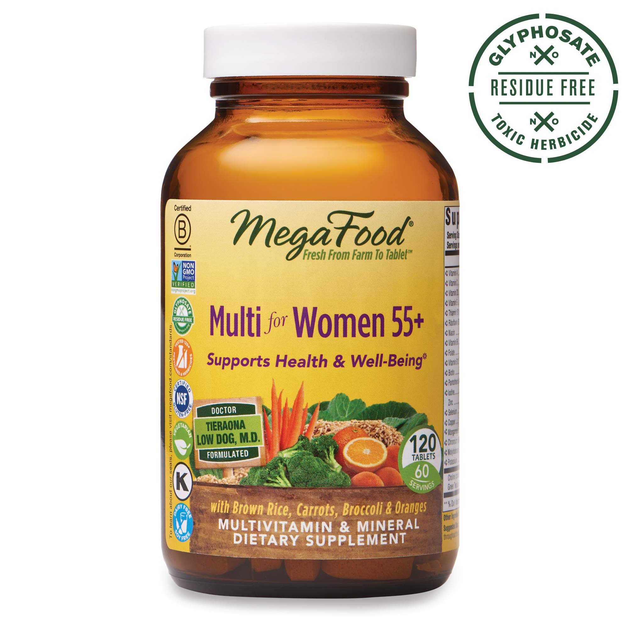 MegaFood, Multi for Women 55+, Supports Optimal Health and Wellbeing, Multivitamin and Mineral Dietary Supplement, Gluten Free, Vegetarian, 120 tablets (60 servings) by MegaFood