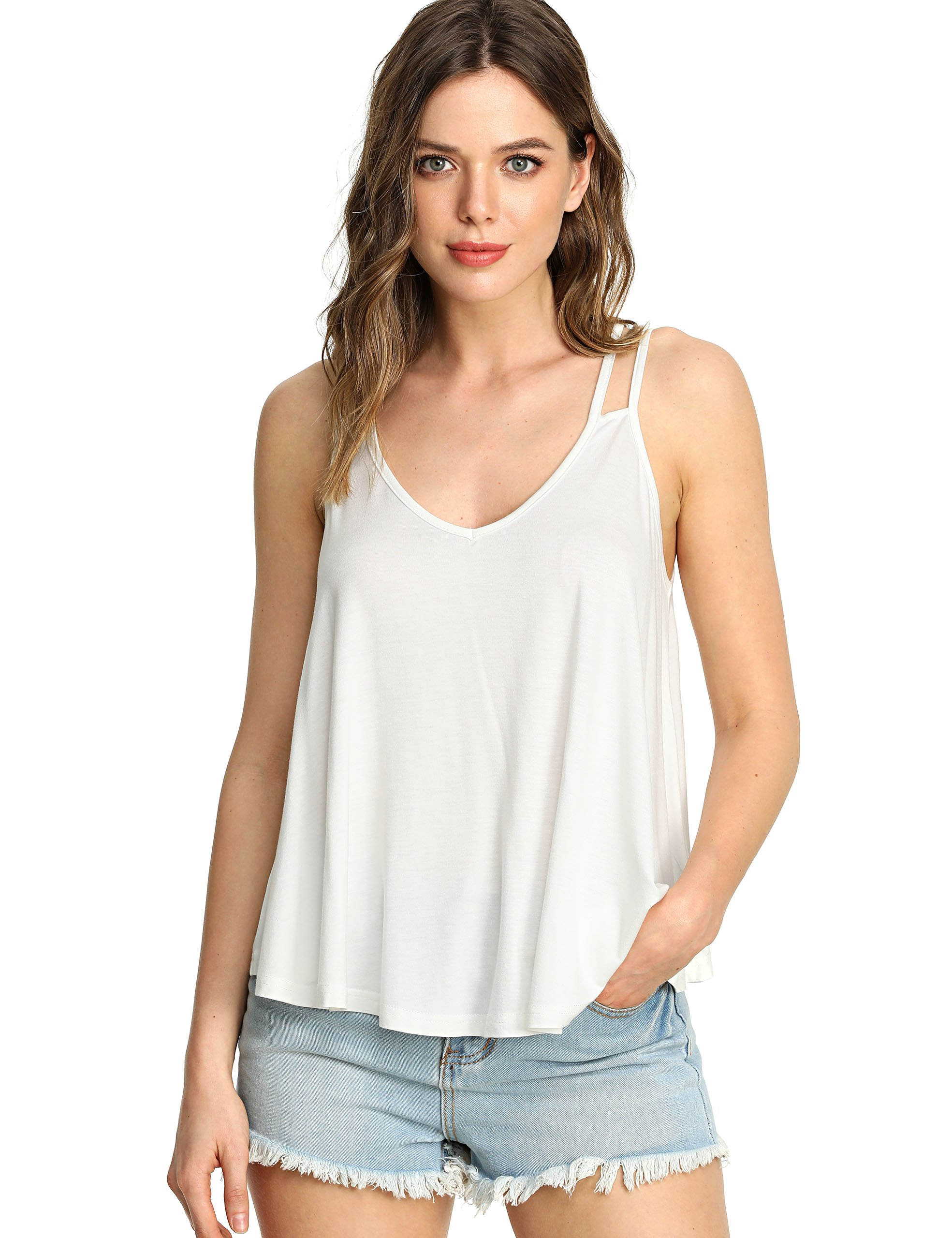 MakeMeChic Women's Flowy V Neck Strappy Loose Tank Tops Cami Blouse Beige XL