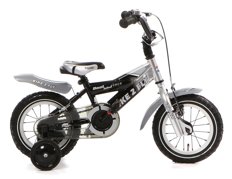 Kinderfahrrad Jungen 12 Zoll Popal Bike 2 Fly mit Vorradbremse am Lenker und Rücktrittbremse, Stützräder Schwarz Silber 95% Zusammengebaut