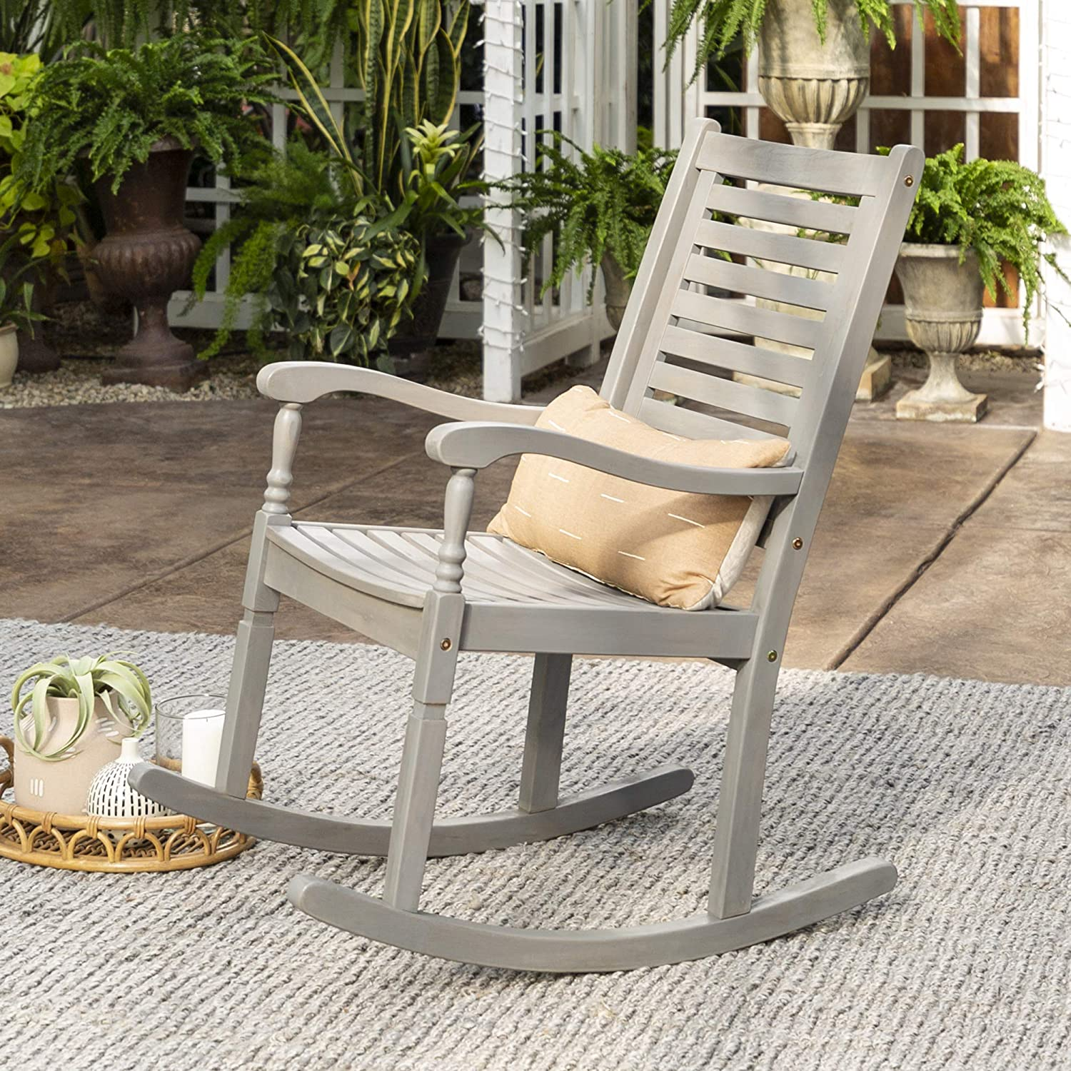 Home Accent Furnishings Patio Solid Acacia Wood Rocking Chair Gray Wash