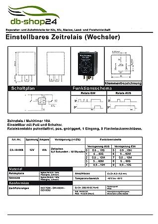 Universal Multitimer Zeitrelais 12V 0,5 sek - 10 std.: Amazon.de: Auto