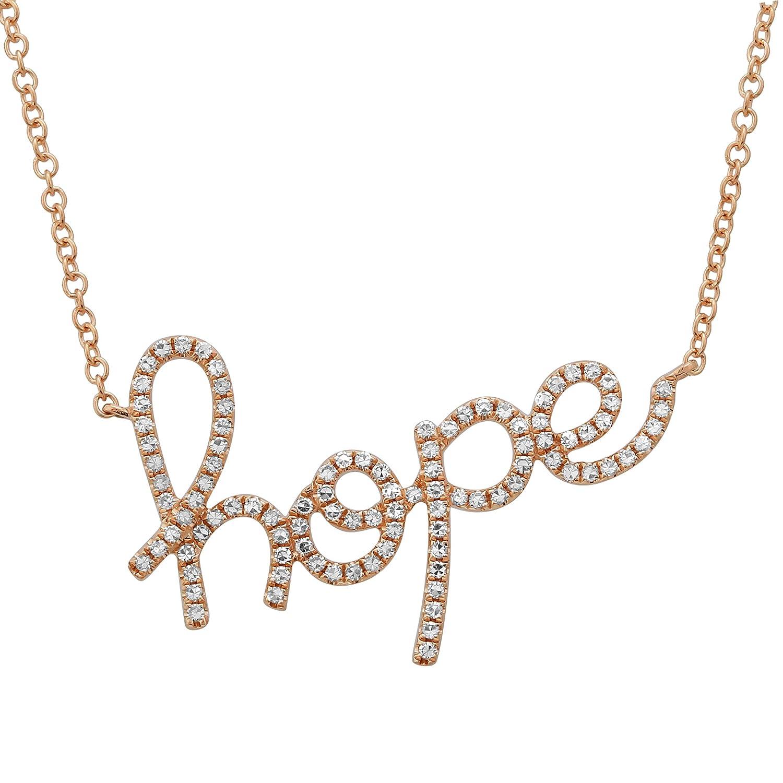 cursive Word Hope Collier 0,23CT Lab Créé Diamant 14K Or rose Colliers pour femme