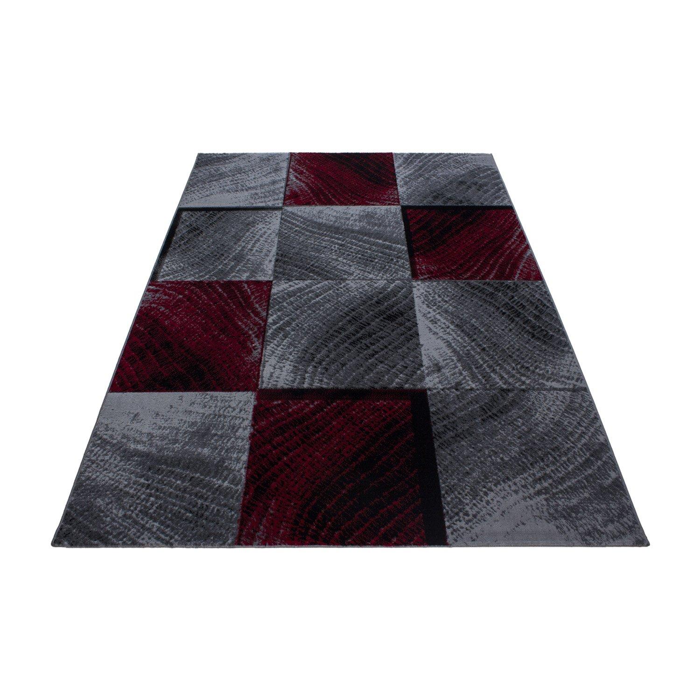 Teppiche modern Design Rechteckig Kurzflor Kartiert Meliert Rot, Maße 160x230 cm