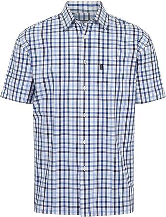 Walker and Hawkes - Camisa de Manga Corta para Hombre - 100 % algodón - Estilo leñador - Estampado a Cuadros: Amazon.es: Ropa y accesorios