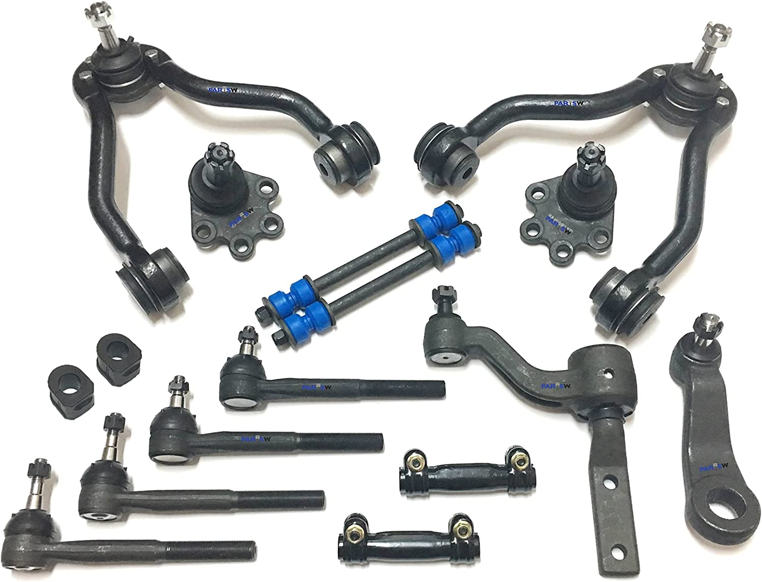 2 Lower Ball Joints 14 Piece Front Suspension Kit Detroit Axle 2 Sway Bar End Links 2 Adjustment Sleeves 2 Upper Ball Joints Pitman /& Idler Arms Tie Rod Ends Fits 4x4 Models Only