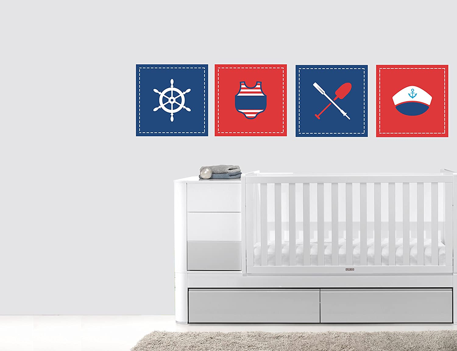 Amazon.com: Red & Blue Nautical Frames Nursery Wall Decal for Baby