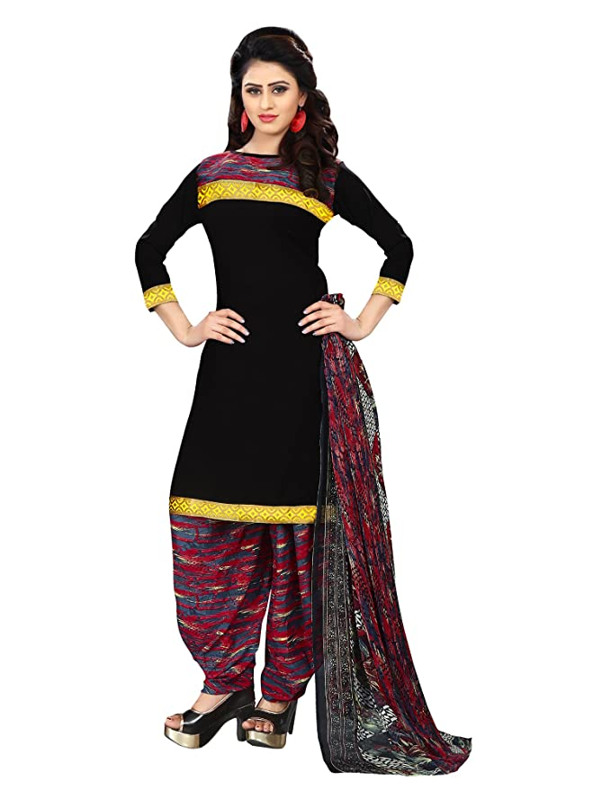 Applecreation Women's Printed Crepe Unstitched Salwar Suit Dress Material with Chiffon Dupatta  Multi Coloured_Free Size