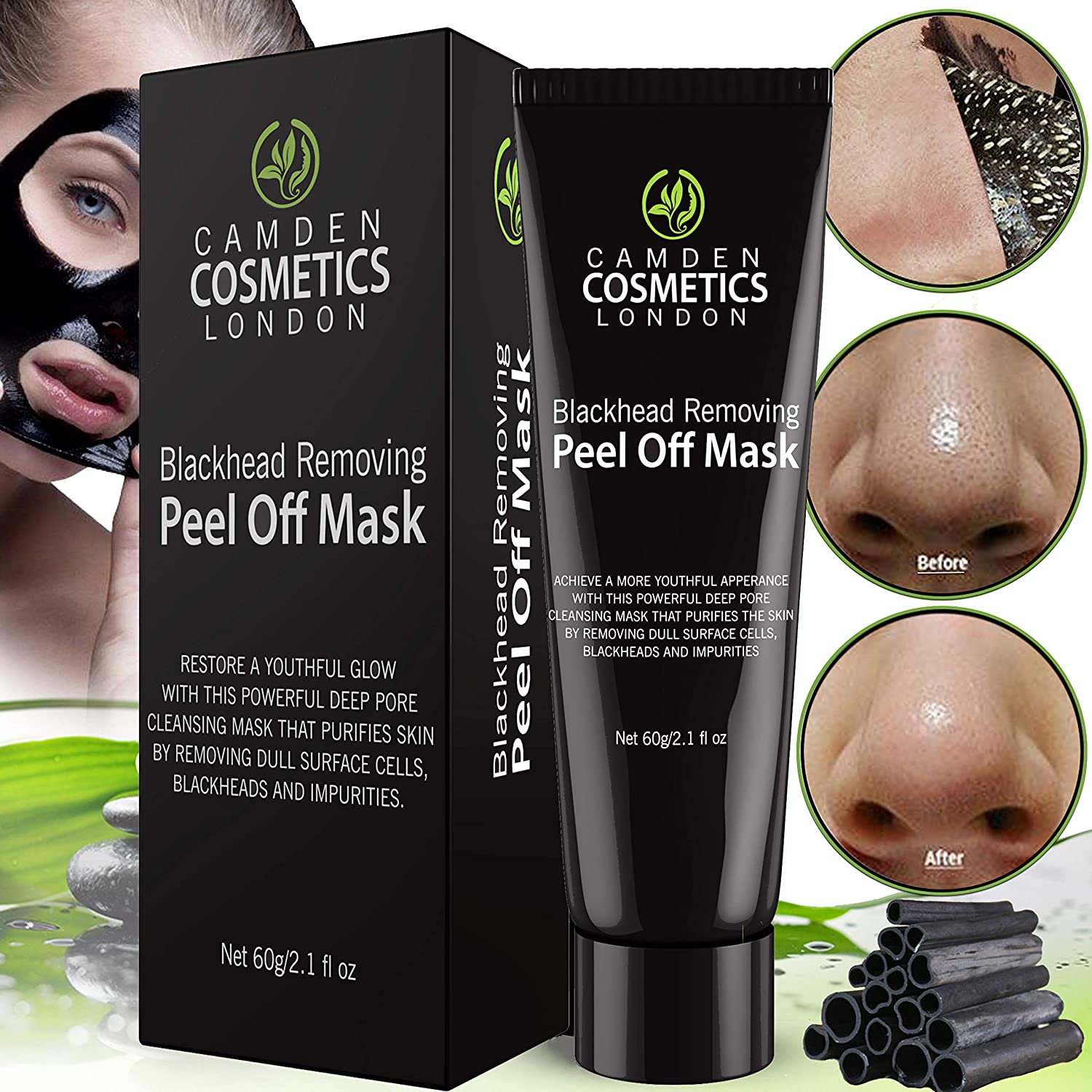 b6a8a0213505 PREMIUM Natural Black Charcoal Face Mask - SALE NOW ON! Blackhead Remover  Mask 60 g - Blackhead Mask - Peel Off Face Masks By Camden Cosmetics - ...