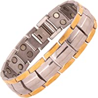 Amazheal Bio Magnetic Therapy Double Ton Titanium Energy Health Metal Bracelet For Men & women