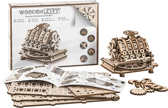 Wooden City V8 Engine with Magic Clock 14 x 10 x 10.7 cm, Wooden Color, one size: Amazon.co.uk: Kitchen & Home
