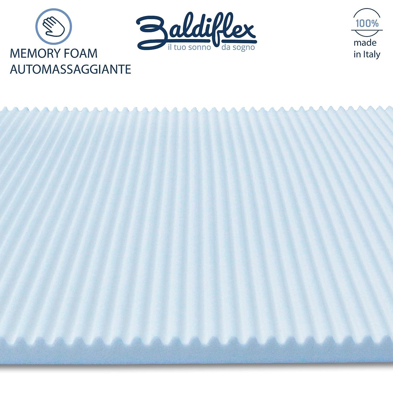 Baldiflex Topper Correttore Materasso Singolo in Memory Foam Wave 70 x 190 cm h 3 cm Fodera in Aloe Vera Sfoderabile antiacaro ergonomico