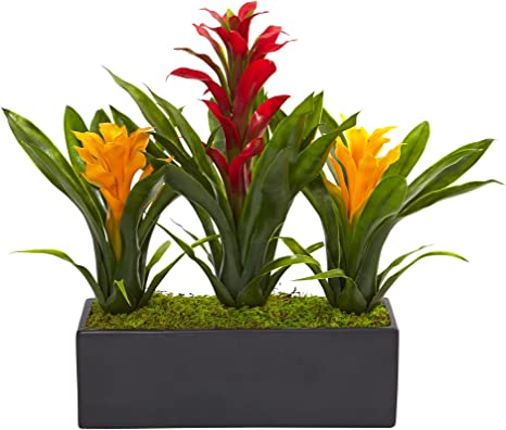 Amazon Com Nearly Natural 1 Bromeliad Artificial 11 H Flowering Plants Red Yellow Home Kitchen