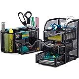 Halter Steel Mesh 2 Piece Desk Organizer Set - Oval Desk Supply Caddy and 3 Drawer Mini Hutch Organizer Storage - Black