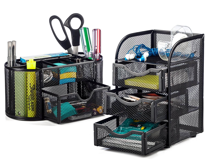 Halfter Stahlgeflecht 2-teilig Schreibtisch Organizer–oval Schreibtisch Supply Caddy und 3Schubladen Mini Stall Organizer Storage–Schwarz Halter