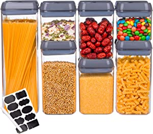 WUWEOT 7 Pack Airtight Food Storage Container, Plastic PBA Free Kitchen & Pantry Organization for Sugar, Flour and Baking Supplies, Dishwasher safe (Gray)