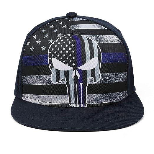86030e61b Odelia Walter Flag Skull Flat Bill Snapbacks Mesh Baseball Caps Trucker Hat  (Flag Skull)