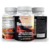 LFI Restore Sleep With L-Theanine — GABA, 5-HTP,L-Dopa, & Melatonin To Help You Achieve Deep Seep. 100% Safe & Not Habit Forming