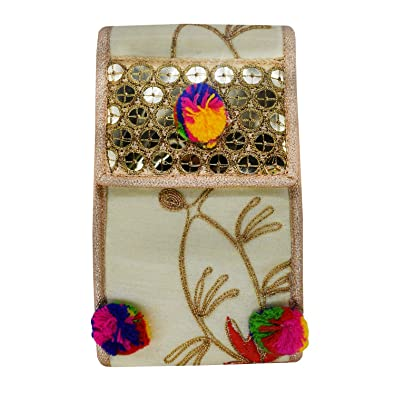 92cbd71031 Bagaholics Ethnic Raw Silk Saree Clutch Embroidery Mobile Pouch with  Multi-Coloured Pom Pom Waist Clip Ladies Purse Gift For Women (Gold):  Amazon.in: Shoes ...