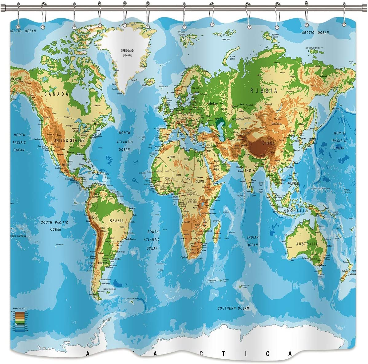 Riyidecor World Map Shower Curtains Geography Countries Capital Cities Blue Earth Textile Decor Bathroom Accessories Set Fabric Polyester Multicolour 72WX72H Inch Hooks Included