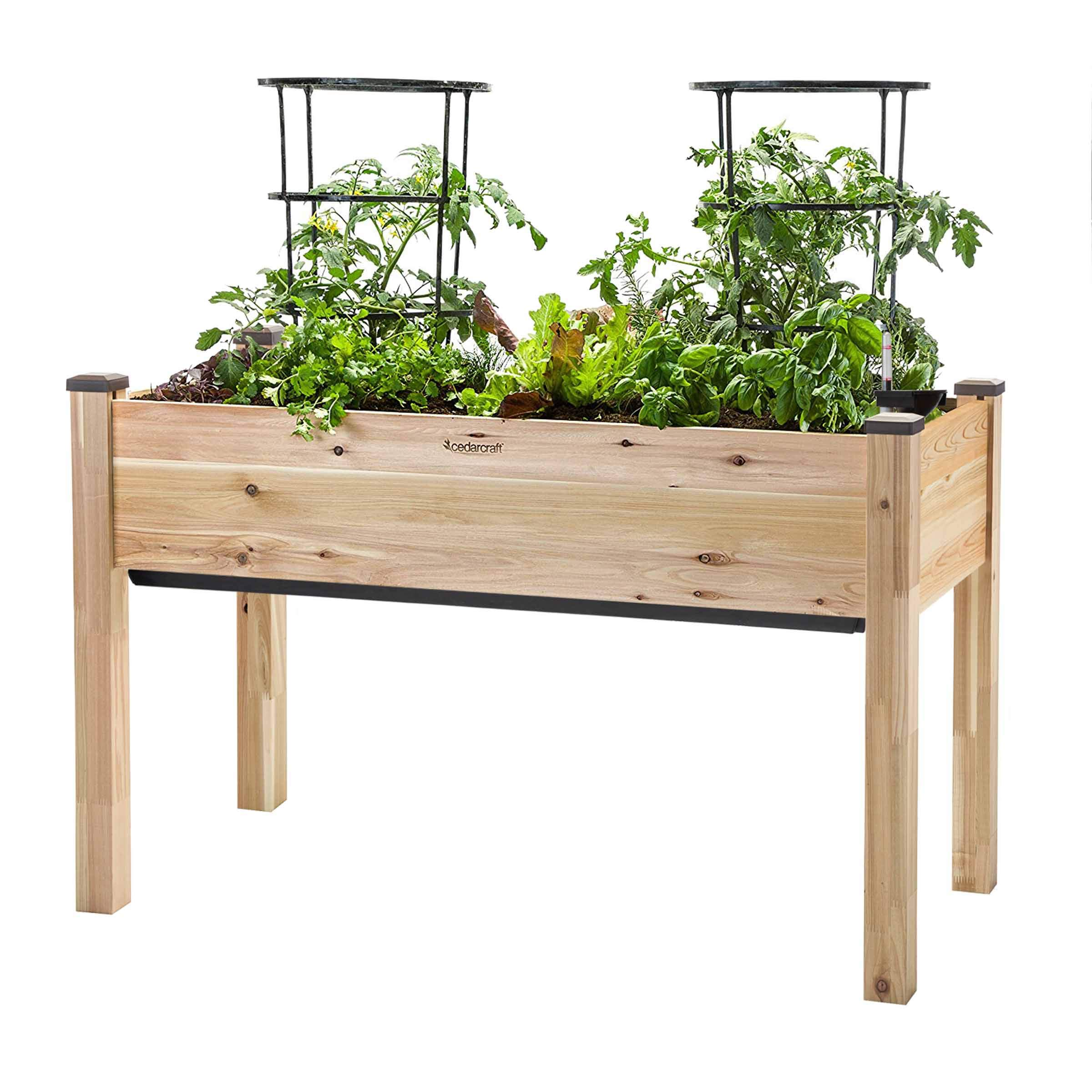 """CedarCraft Self-Watering Elevated Cedar Planter (22"""" x 48"""" x 30'' H) - The Flexibility of Container Gardening + The Convenience of a self-Watering System. Grow Healthier, More Productive Plants."""
