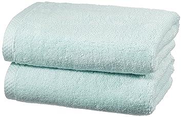 AmazonBasics - Juego de 2 toallas de secado rápido, 2 toallas de mano - Azul claro: Amazon.es: Hogar