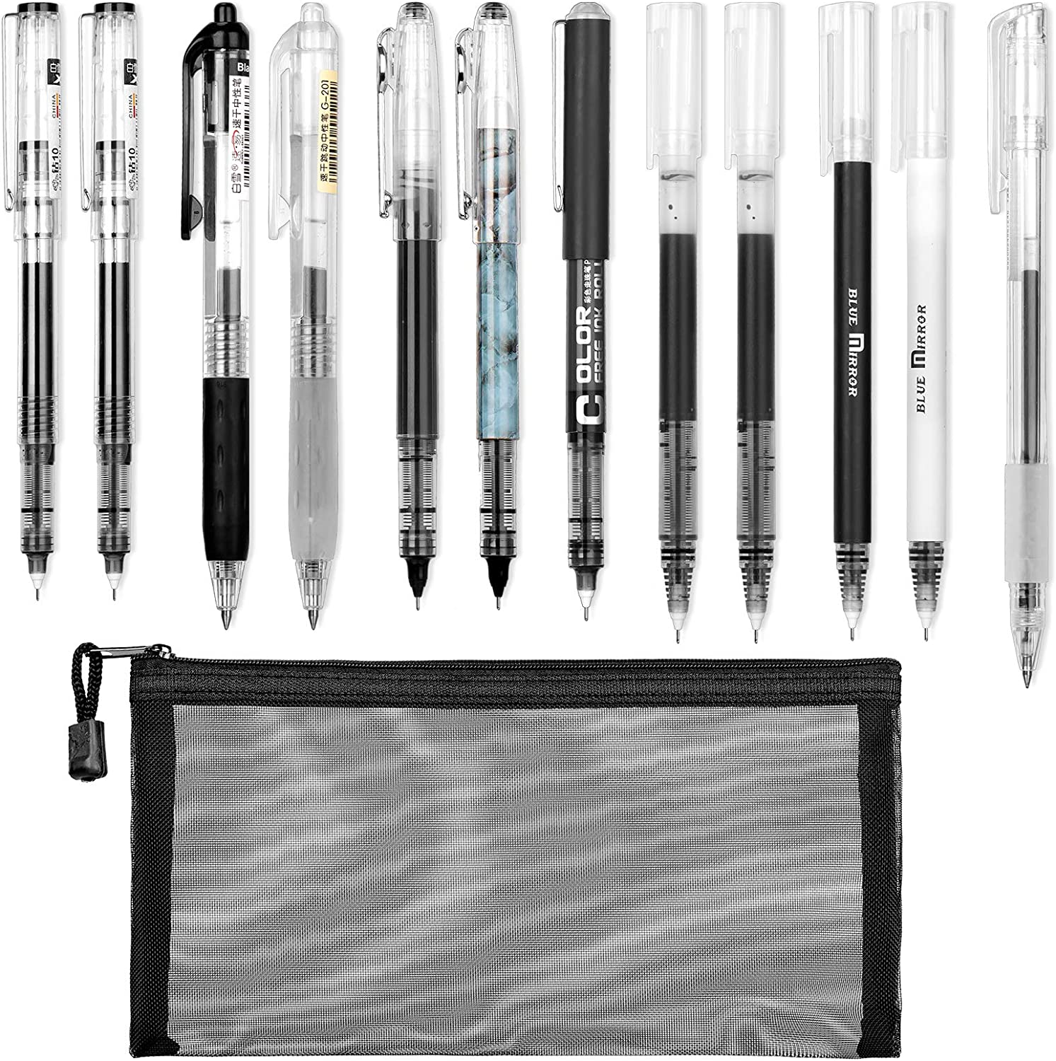 Whaline 13Pcs Gel Pen Set with 12Pcs Black Fine Point Pens Ballpoint Pen and 1 Pen Bag Gel Ink Pens for Student Back to School Supplies Office Business Administration Writer