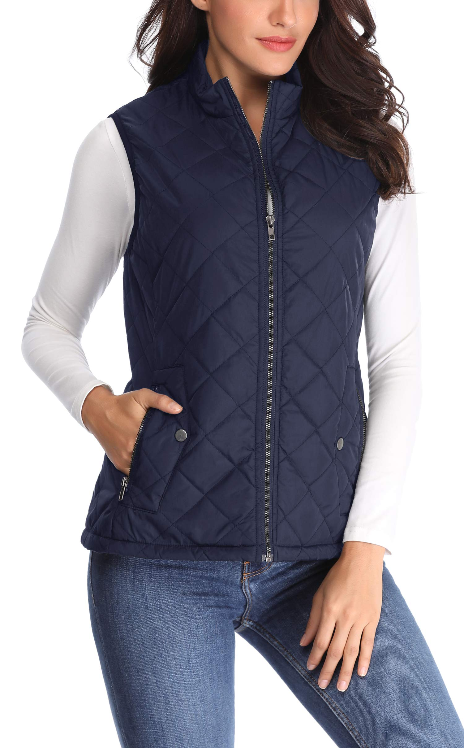 MISS MOLY Women Lightweight Quilted Padded Vest Stand Collar Zip Up Front Gilet Quilted, Blue, Medium