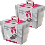Life Story 5.7-Liter Clear Shoe & Closet Storage Box Stacking Container, 20 Pack