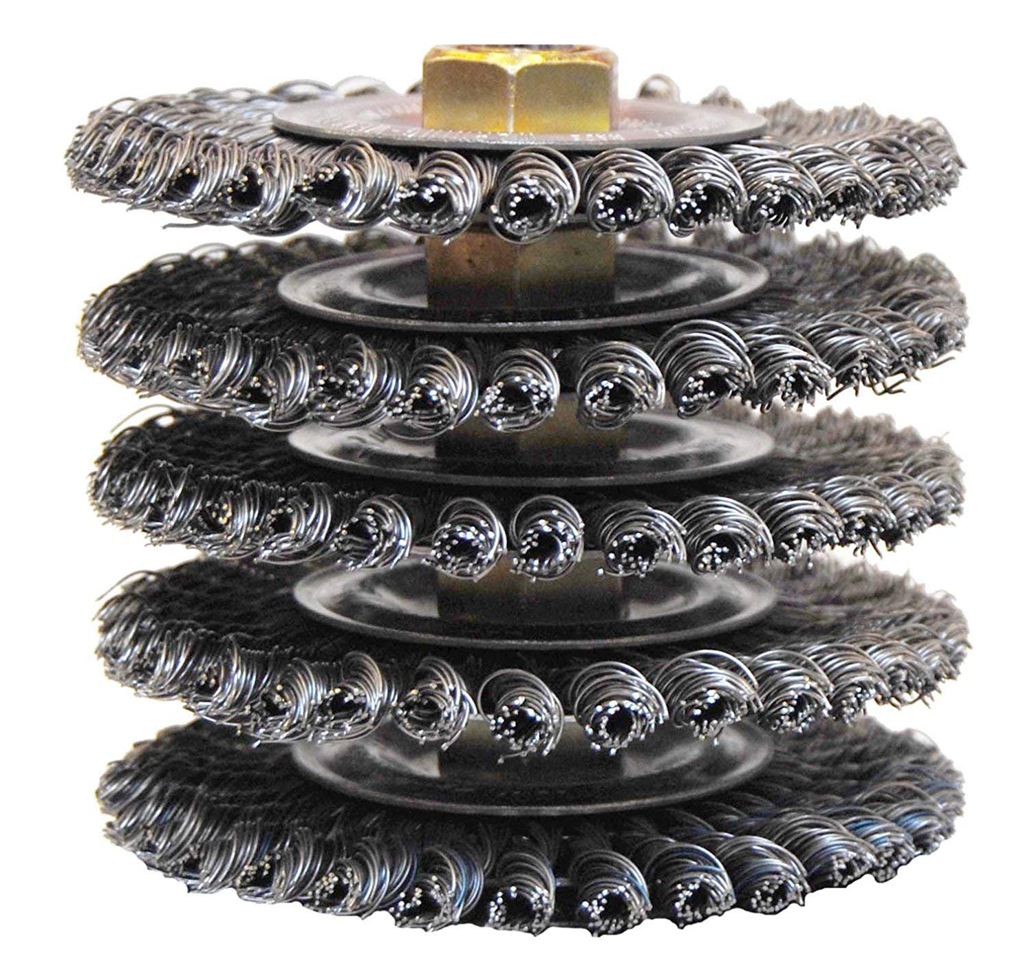 Weiler 13131 ROUGHNECK MAX 4'' Stringer Bead Wire Wheel, .020'' Steel Fill, 5/8''-11 UNC Nut, Made in USA, Pack of 5 by Weiler (Image #2)