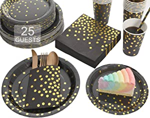 Gexolenu Black and Gold Party Plates set, Gold Foil Dot Disposable Dinnerware, including Paper Plates, Napkins, Cups, Straws, Plastic Forks Knives and Spoons for Birthday, Wedding (25 sets X 8 items)