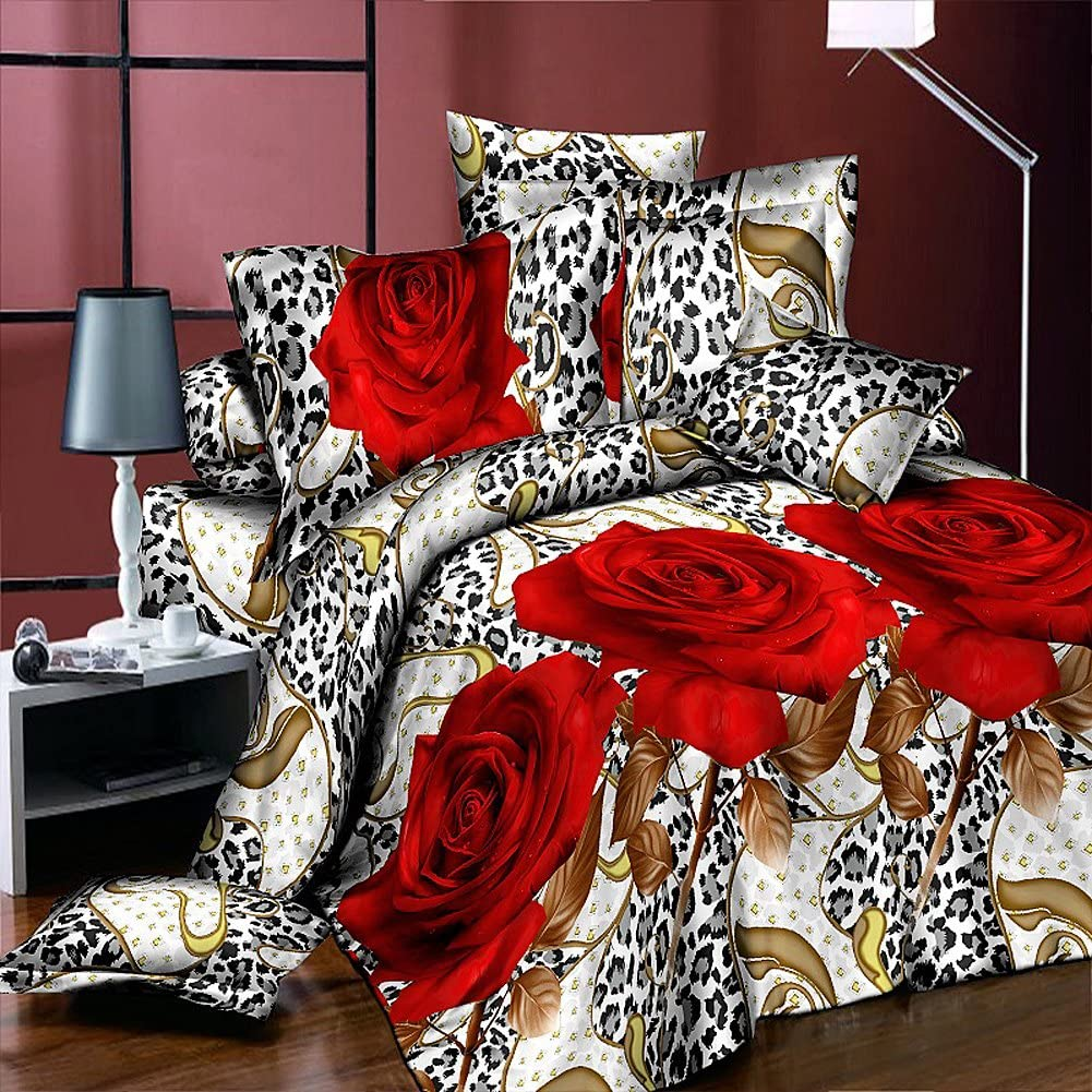 Heave 4pcs Fresh New Leopard Red Rose Bedding Sets Polyester Fabric Comforter Sets 3d Floral Prints Duvet Cover Set Queen Size 1pc Bed Sheet 1pc Comforter Cover 2 Pcs Pillow Covers Amazon Ca Home Kitchen