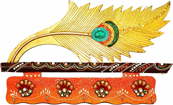 Indian Handicrafts Export Peacock Feather Colorful Key Holder Door Wall Hanging Kundan Peacock Feather Key Stand Home Kitchen Amazon Com