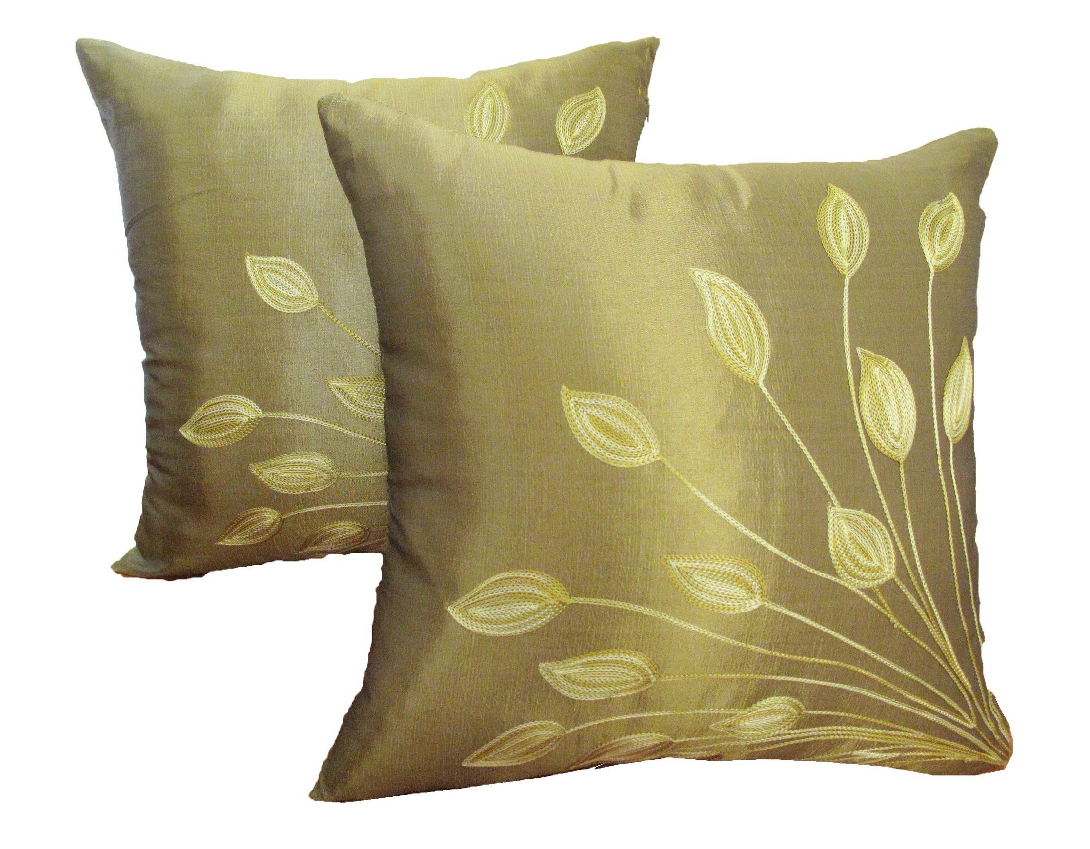 Decorative Thai Silk Throw Pillow Cover Cushion Case Handmade Toss Pillowcase with Hidden Zipper Closure 17 X 17 Inches (For Living Room, Sofa, Etc)
