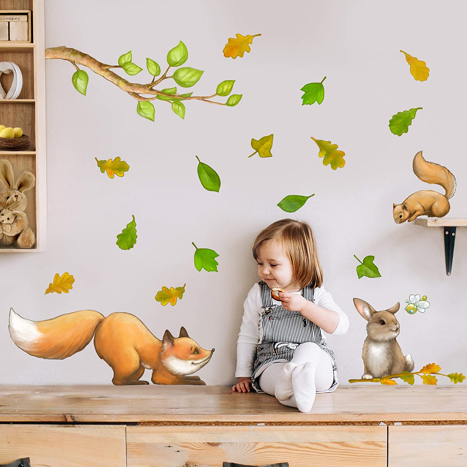 Woodland Animals Peel and Stick Wall Decals for Kids Room Decor. Forest Creatures Wall Stickers for Wall Decor. (Fox, Squirrel, Bunny)