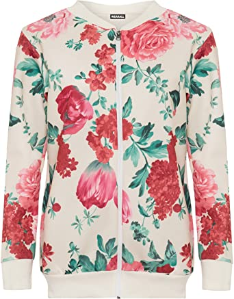 New Ladies Long sleeves Floral Printed Bomber Jacket Zip UP Top Plus Size  14-28: Amazon.co.uk: Clothing
