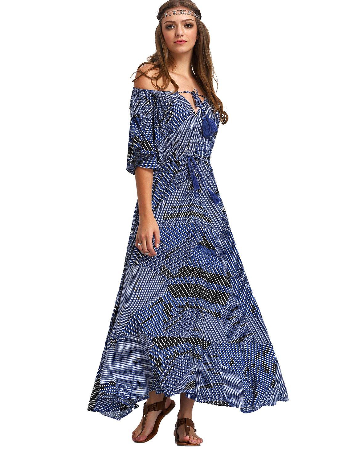 Milumia Women s Boho Off The Shoulder Swing Maxi Dress   Casual ... 33779291b