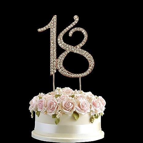 Oro Rosa Con Strass Di Cristallo Per Torta Di Compleanno Numero Pick